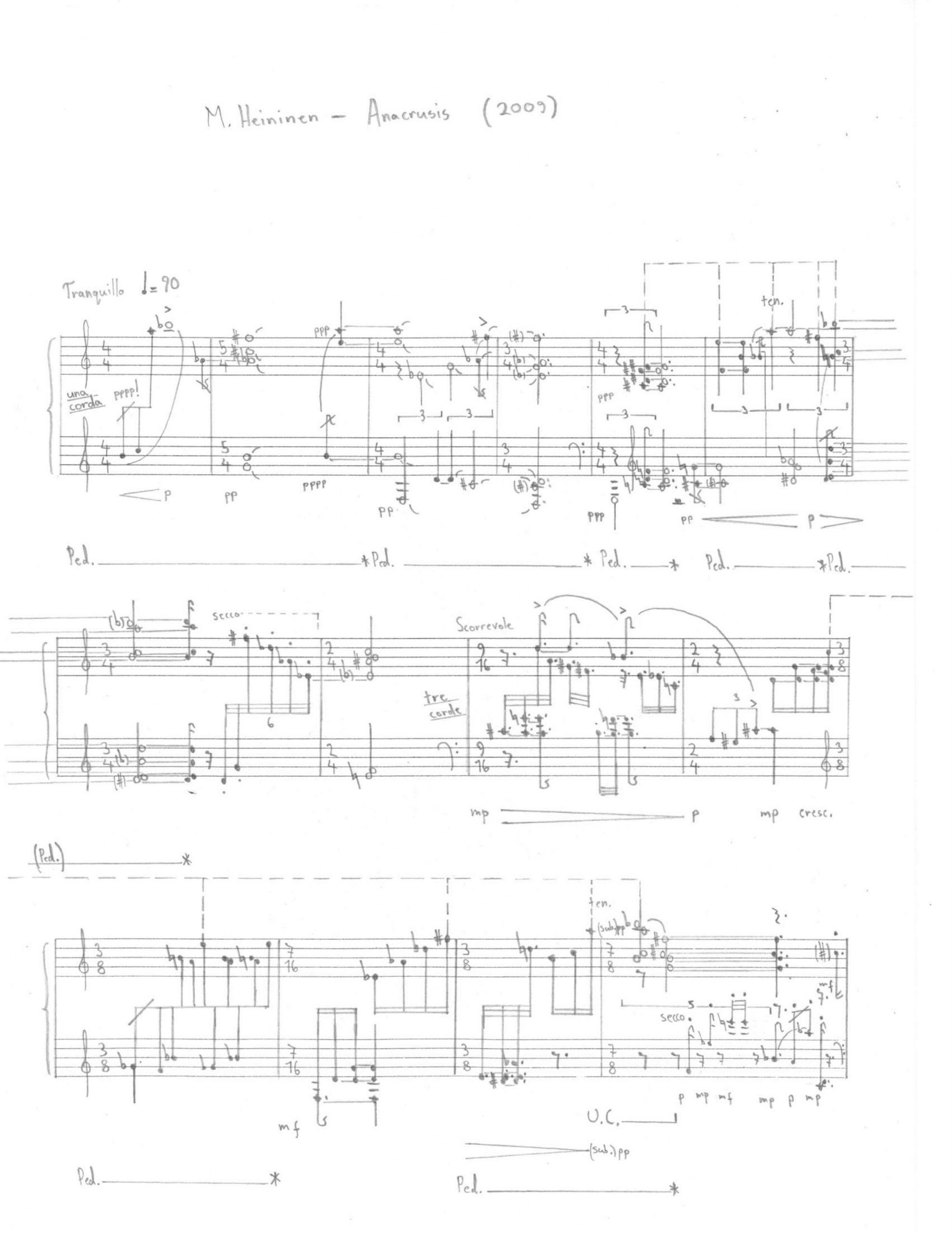 matti heininen composition anacrusis